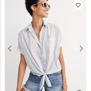 Madewell Tie-Front Shirt in Rawley Stripe